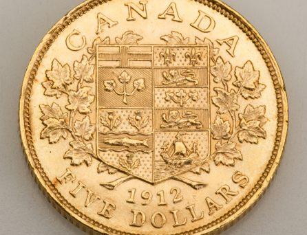 Pièce de monnaie canadienne de 5 dollars dorée