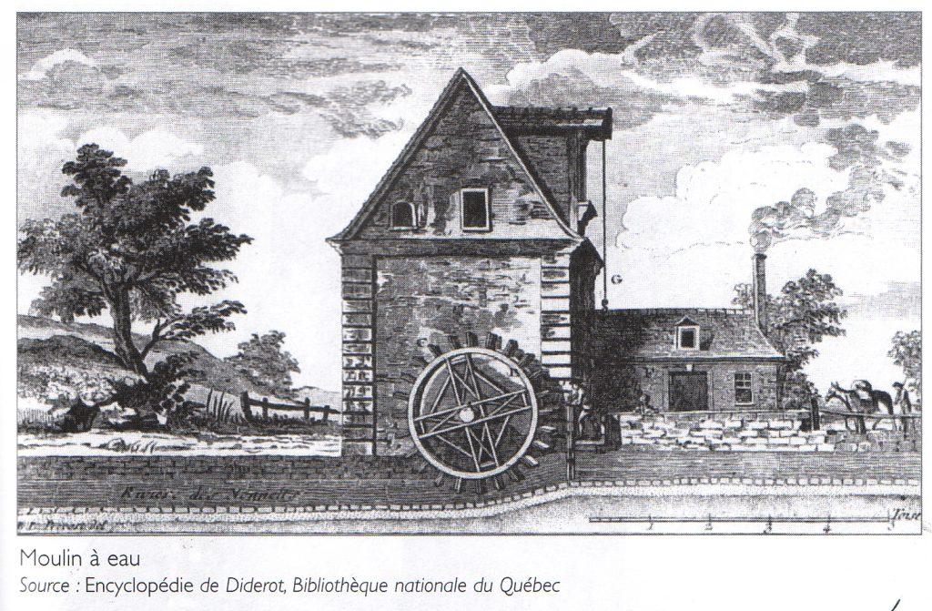 Image d'un moulin à eau européen typique du XVIIIe siècle tirée de l'encyclopédie de Diderot (BAnQ).